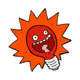 comic cartoon red lightbulb Royalty Free Stock Images