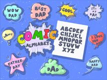 Comic cartoon retro font set. Father s day speech bubbles. Alphabet letters in style of comics, pop art for title. Comic cartoon retro font set. Alphabet letters Royalty Free Stock Photos