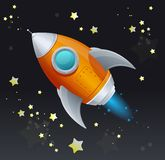 Comic cartoon rocket space ship Stock Photo