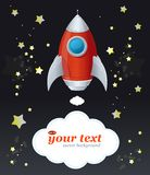 Comic cartoon rocket space ship and text Stock Photography