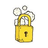 Comic cartoon rusty lock Stock Image