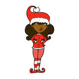 Comic cartoon santa's helper woman Royalty Free Stock Photo