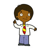 Comic cartoon school boy answering question Royalty Free Stock Photography