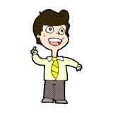 Comic cartoon school boy raising hand Stock Photo