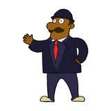 comic cartoon sensible business man in bowler hat Royalty Free Stock Photo