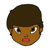 Comic cartoon serious face Stock Image