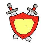 Comic cartoon shield and swords Stock Image