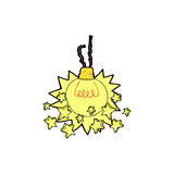 Comic cartoon shining light bulb Royalty Free Stock Photo
