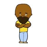 Comic cartoon shocked bald man with beard Royalty Free Stock Photos
