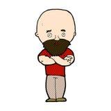 comic cartoon shocked bald man with beard Stock Images