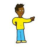 Comic cartoon shocked boy pointing Stock Photo