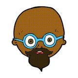 Comic cartoon shocked man with beard Royalty Free Stock Photo