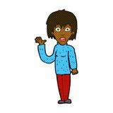 Comic cartoon shocked woman waving hand Stock Photo