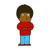 Comic cartoon shy boy Stock Image