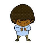 Comic cartoon shy boy Royalty Free Stock Photos