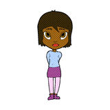 Comic cartoon shy girl Stock Photography