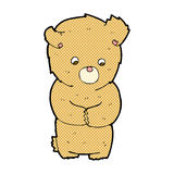Comic cartoon shy teddy bear. Retro comic book style cartoon shy teddy bear Royalty Free Stock Photos