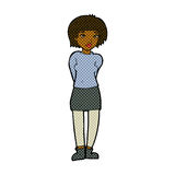 Comic cartoon shy woman Royalty Free Stock Images