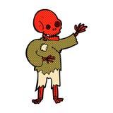 Comic cartoon skeleton waving Stock Images