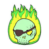 Comic cartoon skull with eye patch. Retro comic book style cartoon skull with eye patch Royalty Free Stock Images