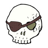 Comic cartoon skull with eye patch Stock Photography