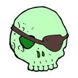 comic cartoon skull with eye patch Stock Photos