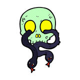 comic cartoon skull with snakes Stock Images