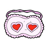 Comic cartoon sleeping mask with love hearts Stock Photography