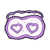 Comic cartoon sleeping mask with love hearts Stock Images