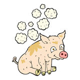 Comic cartoon smelly pig Stock Photo