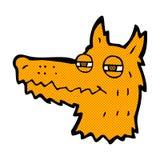 Comic cartoon smug fox face. Retro comic book style cartoon smug fox face Royalty Free Stock Image