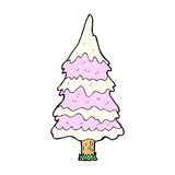 comic cartoon snowy pink tree Stock Photo