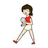 Comic cartoon soccer girl Royalty Free Stock Photography