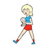 Comic cartoon soccer girl Stock Photography