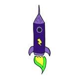comic cartoon space rocket Stock Photos