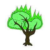 Comic cartoon spooky burning tree Stock Photo