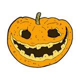 Comic cartoon spooky pumpkin Royalty Free Stock Photo