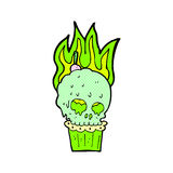 Comic cartoon spooky skull cupcake Stock Photo