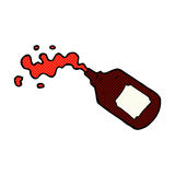 Comic cartoon squirting blood bottle Royalty Free Stock Photography