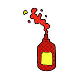 comic cartoon squirting ketchup bottle Stock Photography
