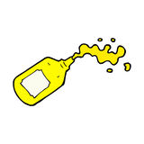 Comic cartoon squirting mustard bottle Royalty Free Stock Images