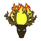 Comic cartoon stag head fire symbol. Retro comic book style cartoon stag head fire symbol Stock Photo