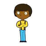 Comic cartoon staring boy with folded arms. Retro comic book style cartoon staring boy with folded arms Stock Photo