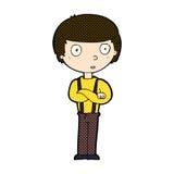Comic cartoon staring boy with folded arms Stock Photos
