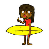comic cartoon surfer girl Stock Images