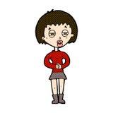 comic cartoon suspicious girl Royalty Free Stock Photography
