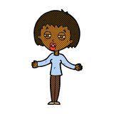 Comic cartoon suspicious woman Stock Photo