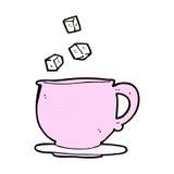 Comic cartoon teacup with sugar cubes Stock Photos