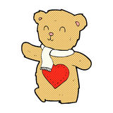 Comic cartoon teddy bear with love heart. Retro comic book style cartoon teddy bear with love heart Royalty Free Stock Image