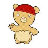Comic cartoon teddy bear wearing hat. Retro comic book style cartoon teddy bear wearing hat royalty free illustration